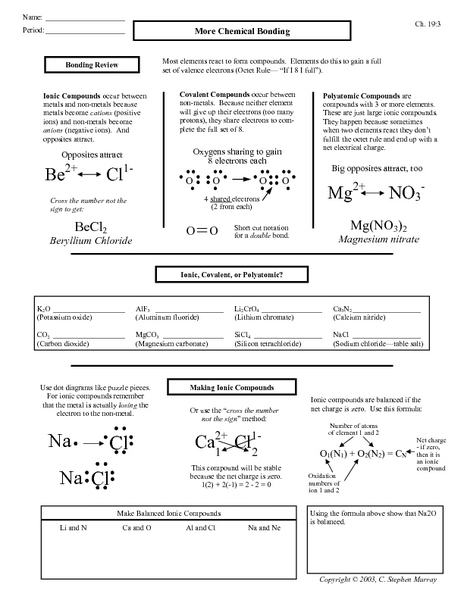 Printables Chemical Bonding Worksheet Answers more chemical bonding 9th 12th grade worksheet lesson planet