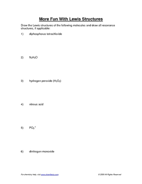 Printables Lewis Structure Worksheet more fun with lewis structures 9th 12th grade worksheet lesson planet