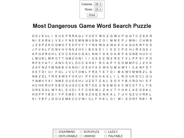 Worksheets The Most Dangerous Game Worksheets most dangerous game word search puzzle 8th 11th grade worksheet lesson planet