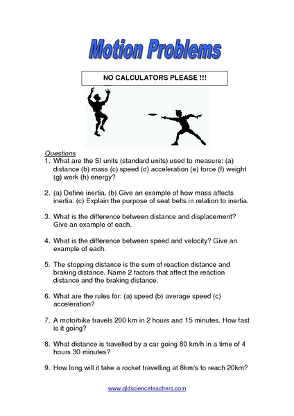 Worksheet Motion Worksheets motion problems 8th 12th grade worksheet lesson planet