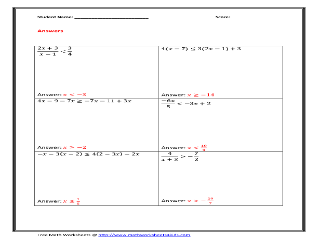 worksheet. Solving Multi Step Inequalities Worksheet. Fiercebad ...