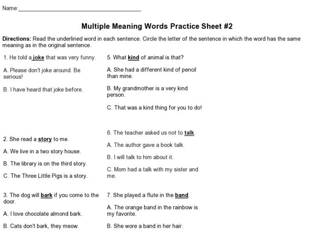 Multiple Meaning Word Worksheets 6th Grade Worksheet Kids – Worksheets on Multiple Meaning Words