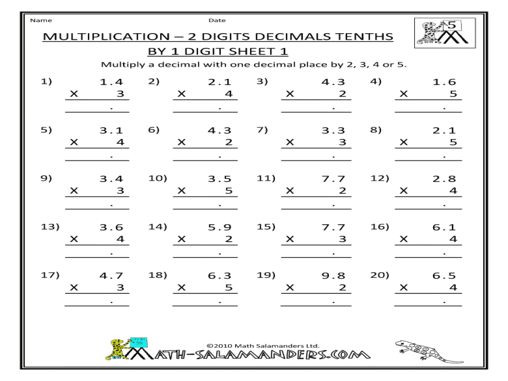 Multiplication 2 Digits Decimals Tenths By 1 Digit Sheet 5th – Multiplication 2 Digit by 1 Digit Worksheets