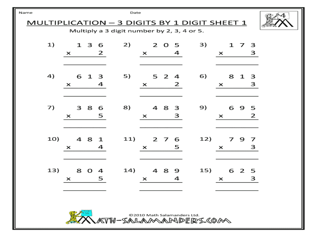 4 Digit Multiplication Worksheets Free Worksheets Library – 2 X 2 Digit Multiplication Worksheets