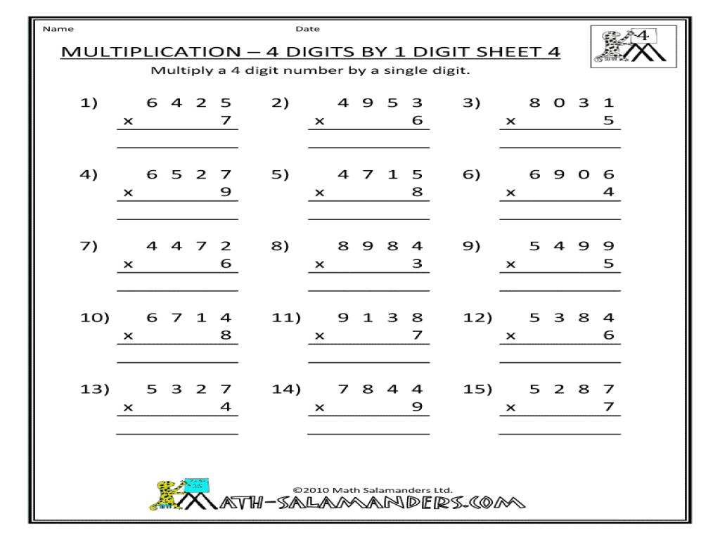 4 Digit Multiplication Scalien – 4 by 1 Multiplication Worksheets