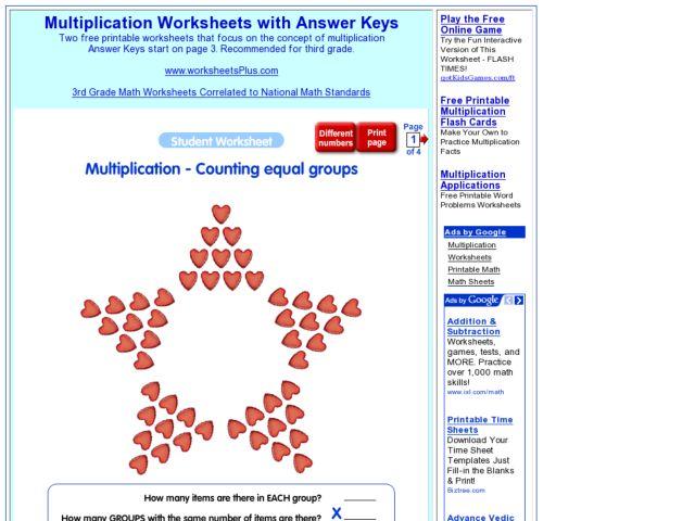 math worksheet : multiplication counting equal groups 2nd  3rd grade worksheet  : Multiplication Equal Groups Worksheets