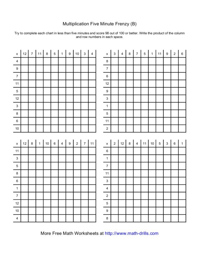 Math Worksheets 5 Minute Drill