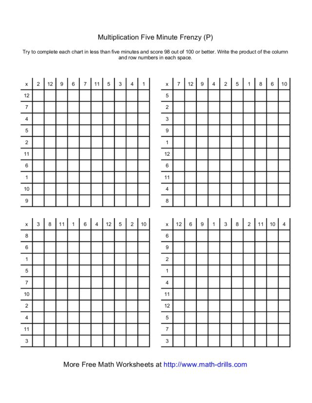 Math Worksheets 5 Minute Frenzy