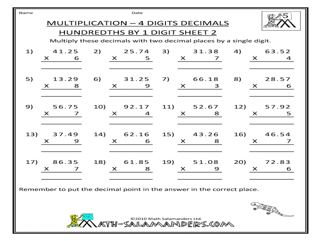 math worksheet : multiplication four digits decimals hundredths by 1 digit sheet  : Four Digit Subtraction Worksheets