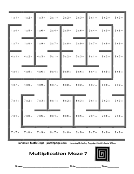 math worksheet : multiplication math fact maze 3rd grade worksheet  lesson pla  : Multiplication Facts Worksheets 3rd Grade