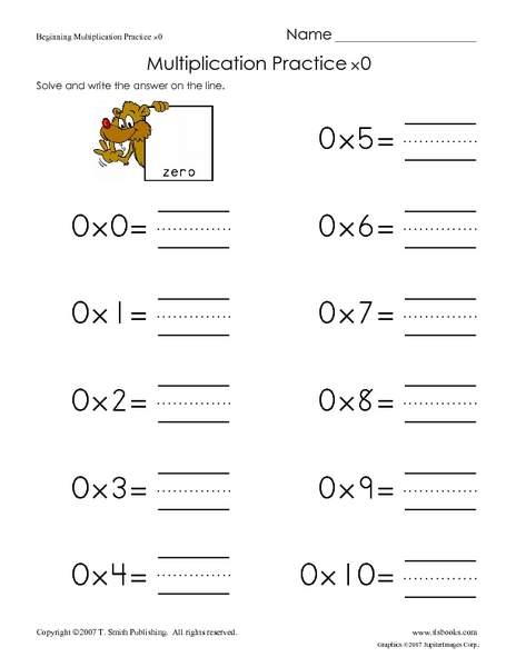 Zero Multiplication Worksheet Worksheet 593764 Standard Algorithm
