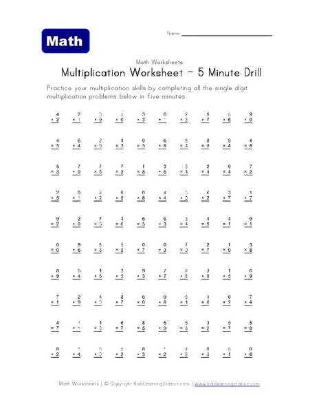 Multiplication Worksheets multiplication worksheets grade 4 100 problems : Multiplication Worksheet - 5 Minute Drill 4th Grade Worksheet ...