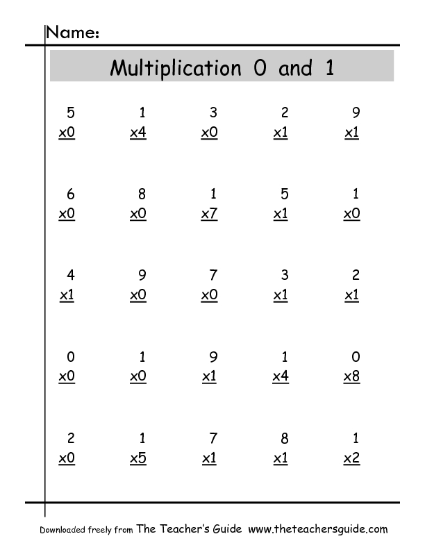 math worksheet : multiply 0 and 1 2nd  3rd grade worksheet  lesson pla  : 0 And 1 Multiplication Worksheets