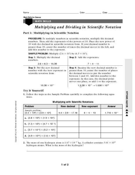Scientific Notation Multiplication Worksheet  Scientific Notation