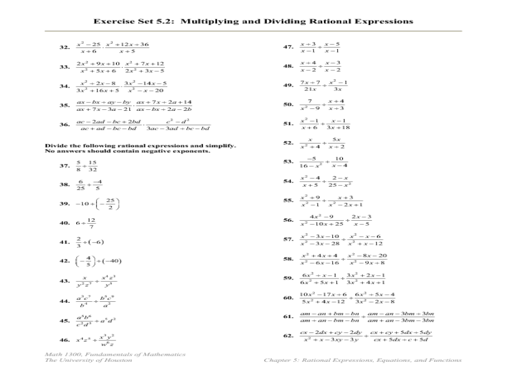 Multiplication And Division Of Rational Expressions Worksheets – Multiplication and Division of Rational Expressions Worksheets