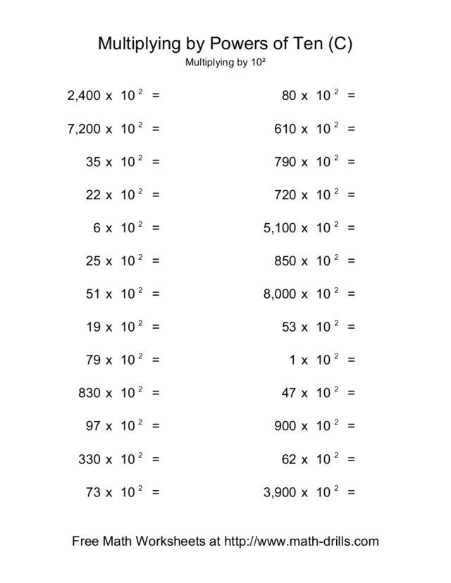 Multiply Decimals By Powers Of 10 Worksheet The Multiplying – Multiplying Decimals by Powers of 10 Worksheets