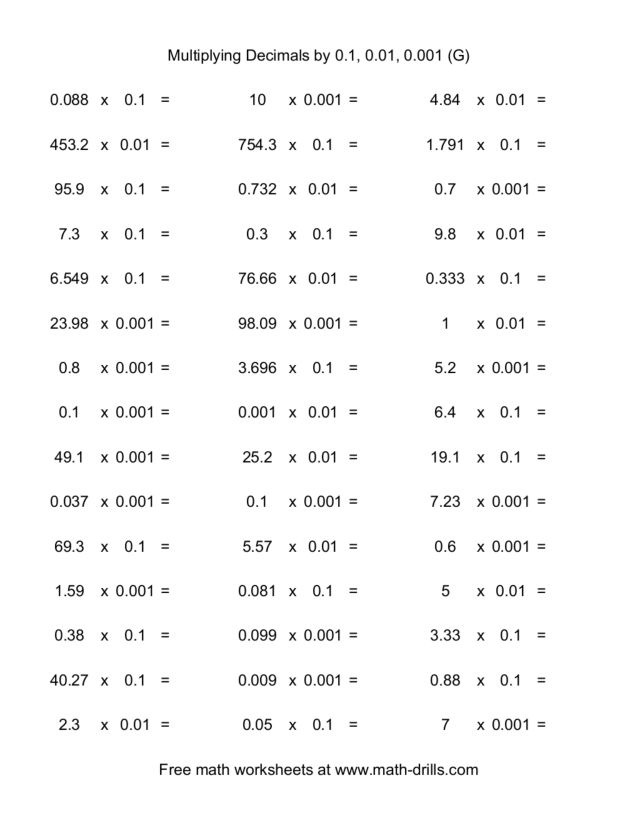 math worksheet : multiplying decimals by 0 1 0 01 0 001 g 5th  6th grade  : Multiplying Decimals By Whole Numbers Worksheet