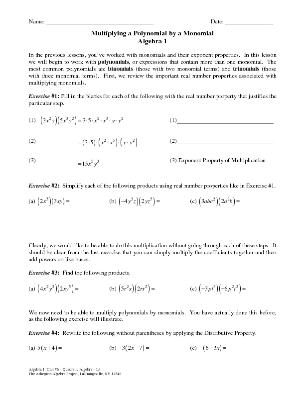 multiplying monomials worksheet Termolak – Multiplying Monomials and Polynomials Worksheet