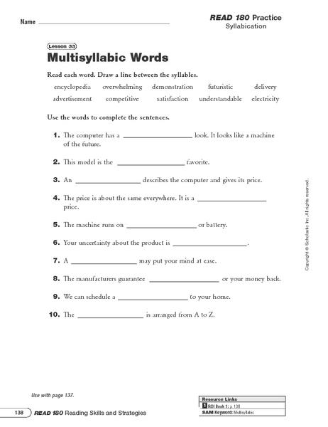 Multisyllabic Words Worksheets For 2nd Grade - K5 Worksheets