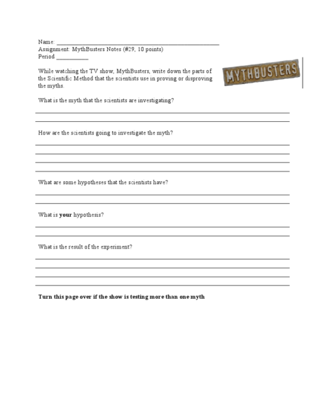Worksheet Mythbusters Scientific Method Worksheet mythbusters notes 29 10 points 6th 7th grade worksheet lesson planet