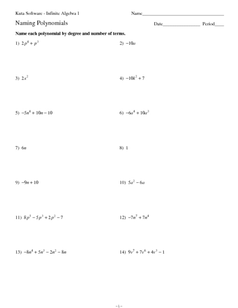 Printables Polynomials Worksheet naming polynomials worksheet intrepidpath 6th 8th grade lesson pla