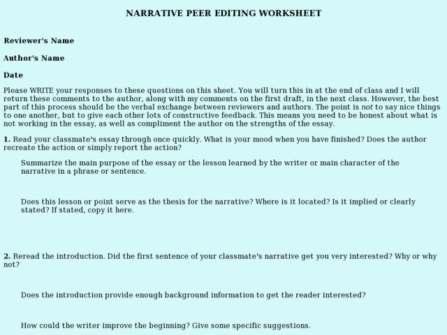 Online Writing Lab peer editing checklist for research papers – Peer Edit Worksheet