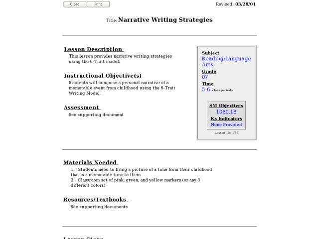 narrative essay writing lesson plans This lesson uses comic strip frames to define plot and reinforce the structure that underlies a narrative students finish by writing lesson-plans/comics.