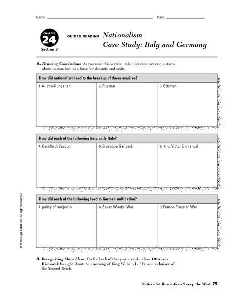 Worksheets Case Study Worksheet nationalism case study italy and germany 9th 10th grade worksheet lesson planet