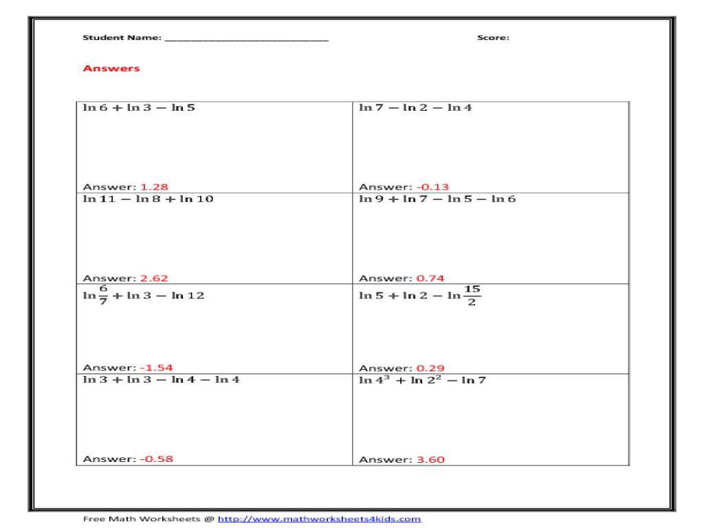 Log Worksheets Sharebrowse – Logarithm Properties Worksheet