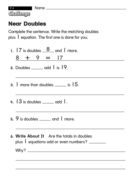 Near Doubles 1st - 2nd Grade Worksheet | Lesson Planet