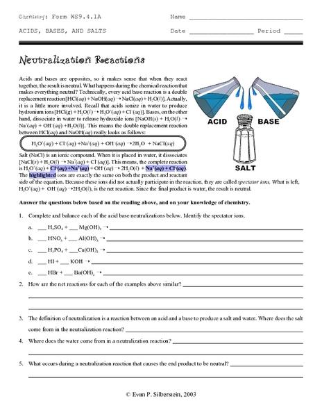 Neutralization Reaction Worksheet - Genius