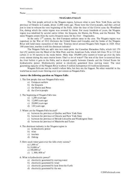 Niagara Falls Reading Comprehension Passage 5th 7th Grade Worksheet
