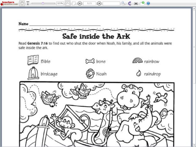 Image Gallery Noahs Ark Activity Sheets