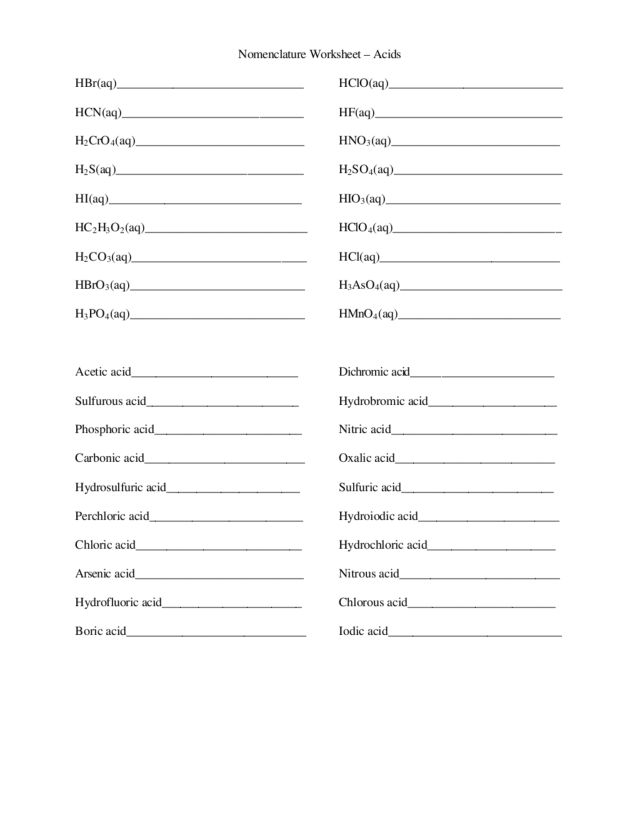 Acid Naming Worksheet Delibertad – Naming Acids Worksheet