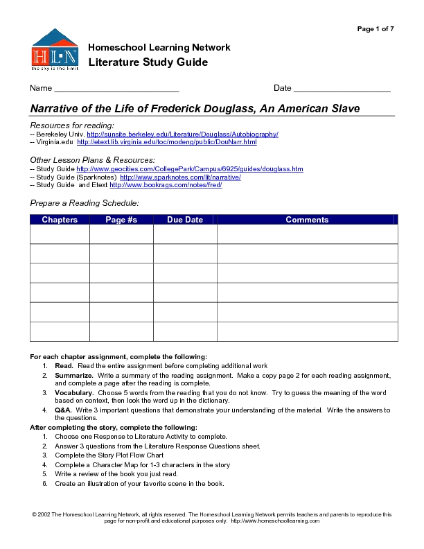 Printables Frederick Douglass Worksheet nonfiction study guide frederick douglass 8th 11th grade worksheet lesson planet