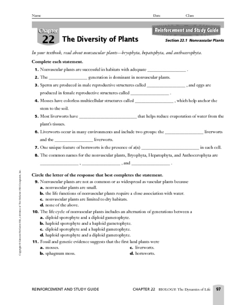 vascular plants worksheets - The Best and Most Comprehensive ...