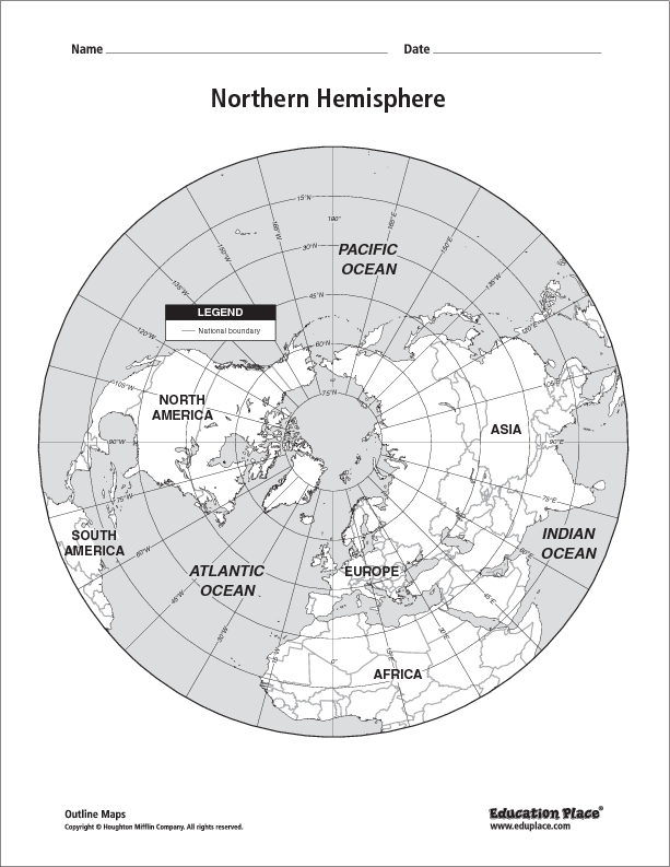 Printables Hemisphere Worksheet northern hemisphere map 5th 12th grade worksheet lesson planet