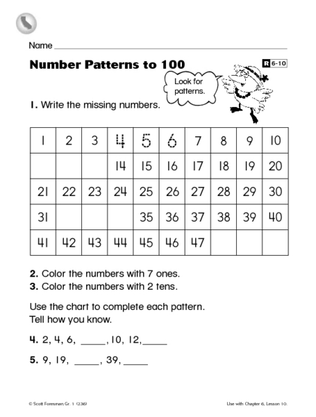 Number Patterns to 100- Write the Missing Numbers Reteaching ...