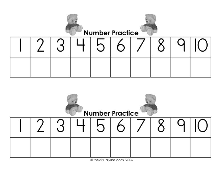 Writing Numbers 1 10 Worksheets : Number worksheets for kindergarten writing numbers to