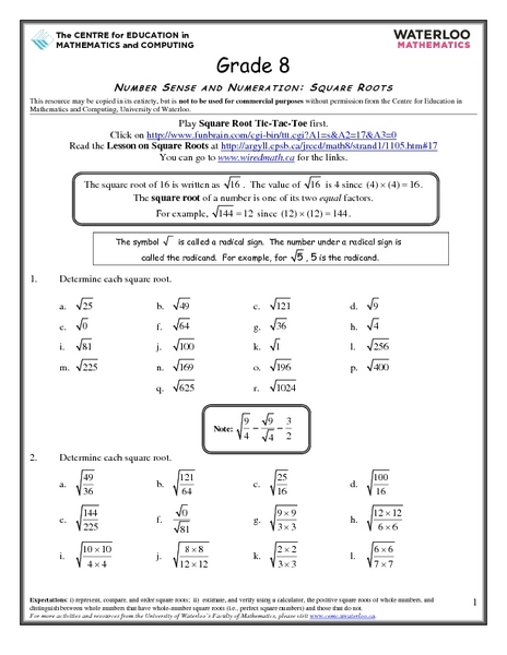 Printables Square Root Worksheets 8th Grade number sense and numeration square roots 8th grade worksheet lesson planet