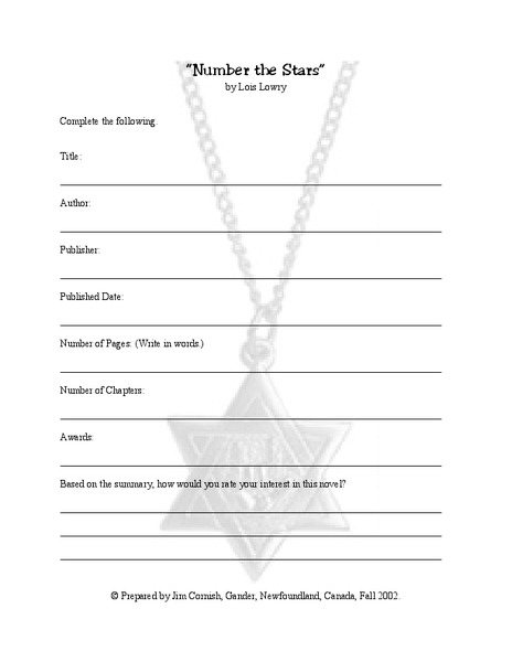 Number The Stars Book Report 6th - 8th Grade Worksheet | Lesson Planet