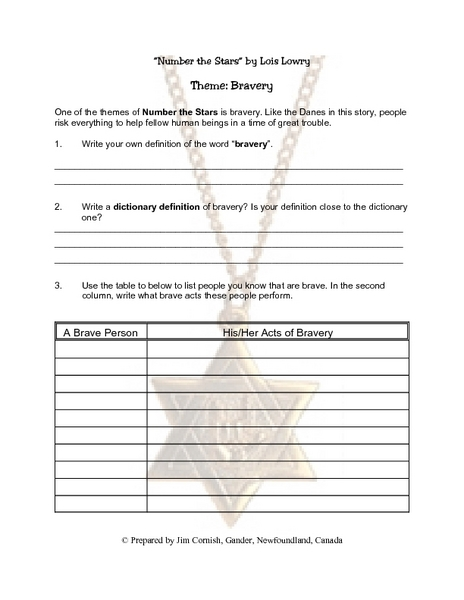 Printables Number The Stars Worksheets number the stars worksheets davezan theme bravery 4th 5th grade lesson plan