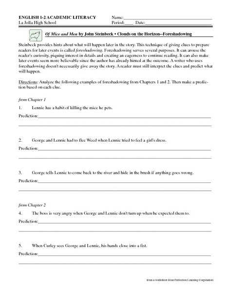 Printables Of Mice And Men Worksheet of mice and men worksheet syndeomedia by john steinbeck clouds on the horizon