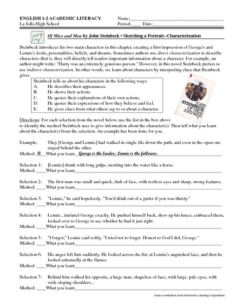 Worksheet Of Mice And Men Worksheets of mice and men by john steinbeck sketching a portrait characterization 6th 9th grade worksheet lesson planet