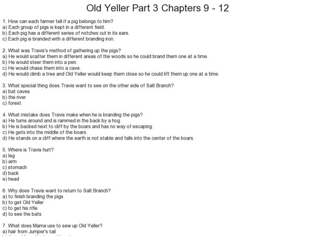 Worksheet Old Yeller Worksheets old yeller part 3 chapters 9 12 5th 6th grade worksheet lesson planet