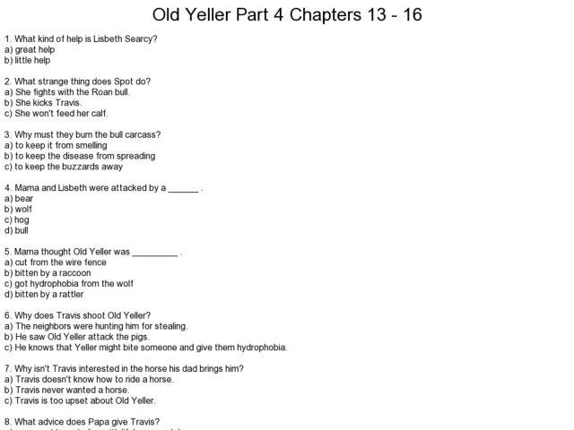 Old Yeller Essay