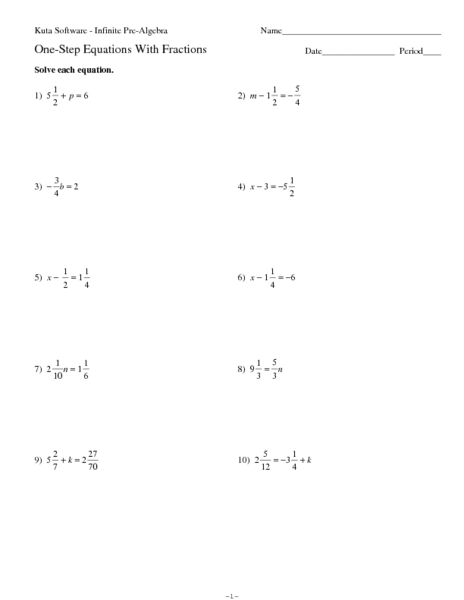 Solving Equations With Fractions Worksheet: Solving Two Step Equations With Decimals And Fractions Worksheet    ,