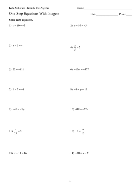 One-Step Equations With Integers 7th - 9th Grade Worksheet ...