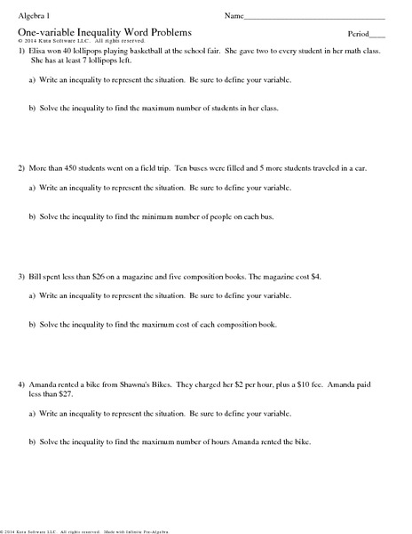 Worksheets One Variable Linear Inequalities Word Problems Worksheet one variable inequality word problems 7th 9th grade worksheet lesson planet