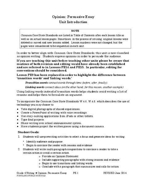 persuasive essay introduction worksheet